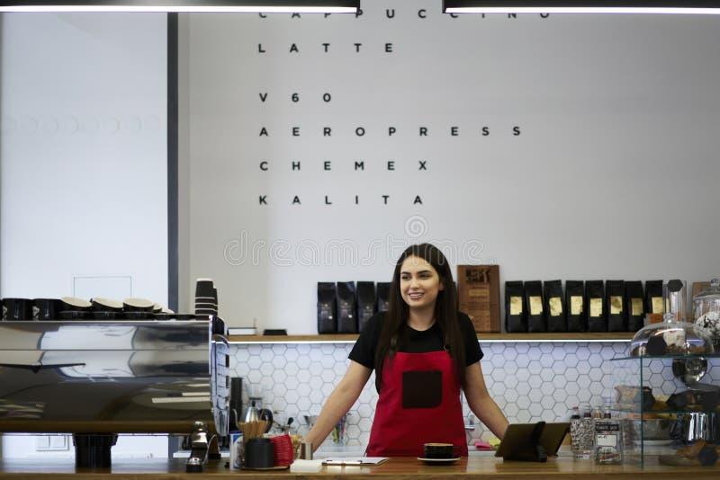 Ελκυστικός θηλυκός ιδιοκτήτης barista επιχειρηματιών του φραγμού caffe στοκ φωτογραφίες
