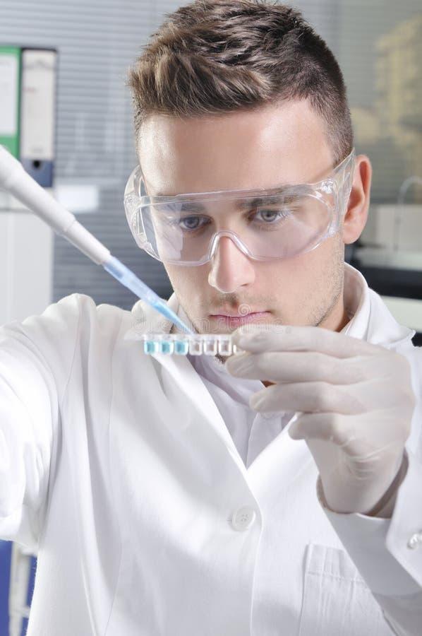 Ελκυστικός νέος επιστήμονας σπουδαστών PHD στο εργαστήριο στοκ φωτογραφία