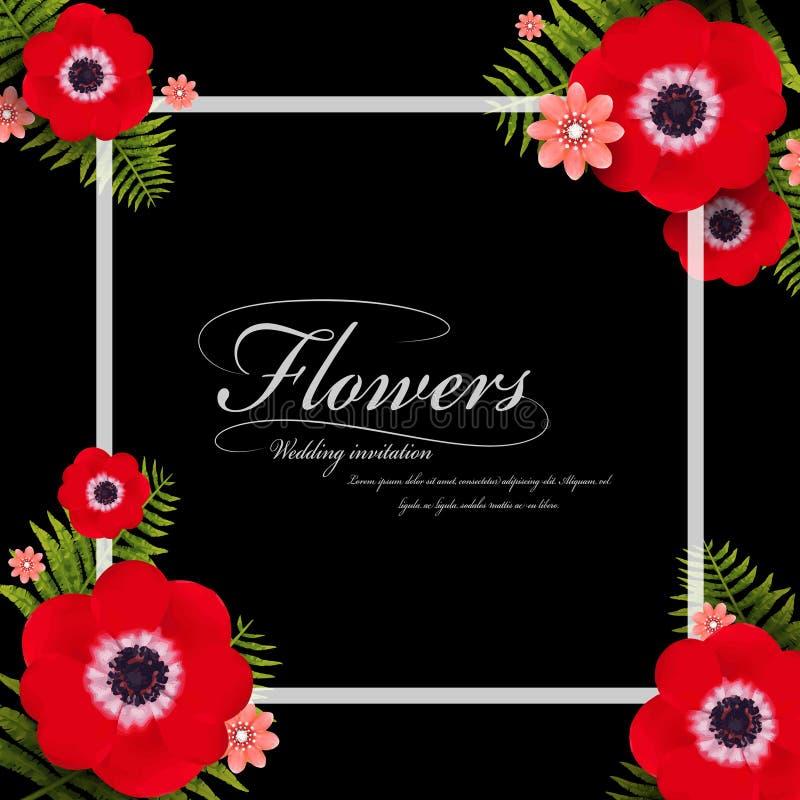 Ελκυστικό κόκκινο pansy floral πλαίσιο ελεύθερη απεικόνιση δικαιώματος