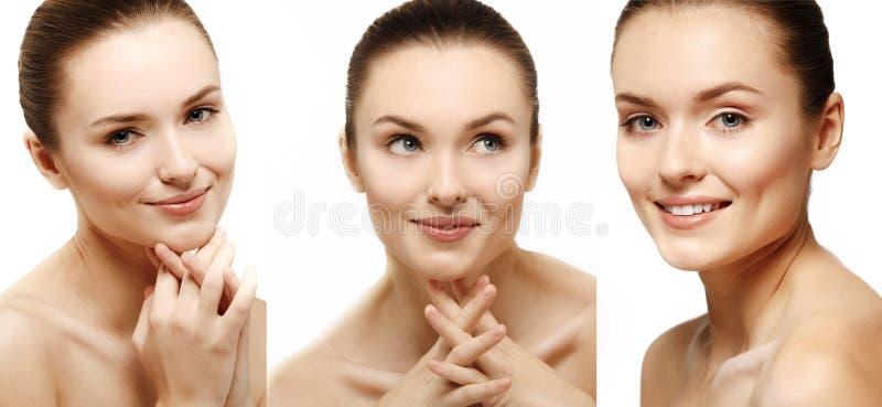 Ελκυστικό πορτρέτο γυναικών χαμόγελου στην άσπρη ανασκόπηση στοκ εικόνες με δικαίωμα ελεύθερης χρήσης