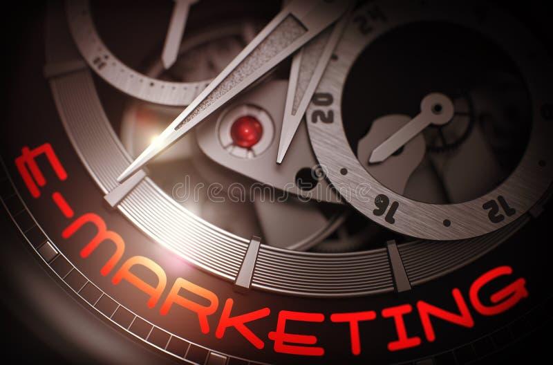 Ε-μάρκετινγκ στο μηχανισμό Wristwatch πολυτέλειας τρισδιάστατος διανυσματική απεικόνιση