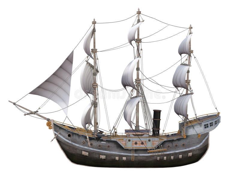 δεδομένου ότι η ανασκόπηση είναι μπλε οι βάρκες βαρκών μπορούν να κτυπήσουν σκοτεινό κ διανυσματική απεικόνιση