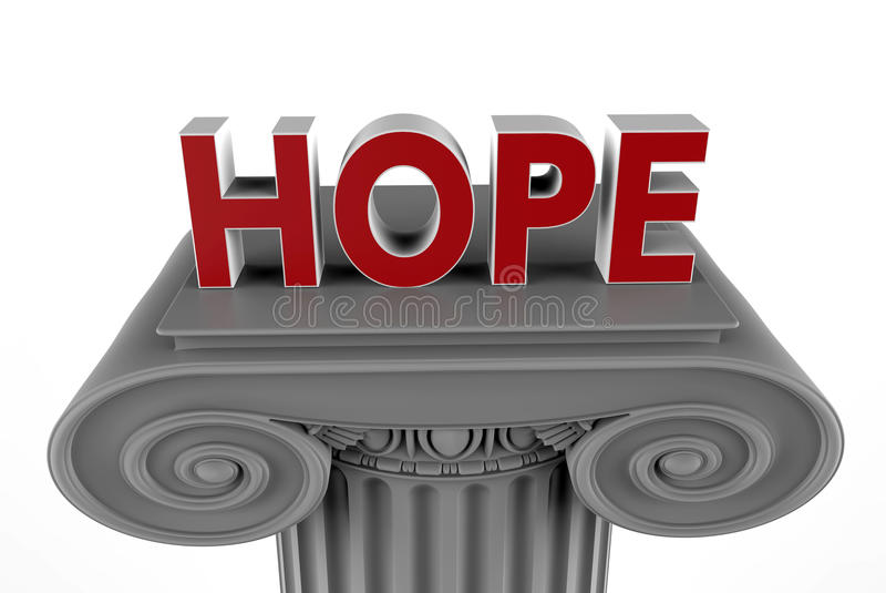 Ελπίδα στην έννοια στηλών διανυσματική απεικόνιση