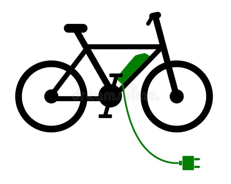 Ε-ποδήλατο στην επαναφόρτιση του σταθμού στο λευκό διανυσματική απεικόνιση