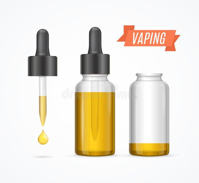 Ε-υγρό μπουκάλι Vaping, διάνυσμα διανυσματική απεικόνιση