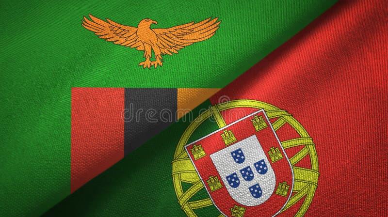 Ζάμπια και Πορτογαλία δύο υφαντικό ύφασμα σημαιών, σύσταση υφάσματος απεικόνιση αποθεμάτων