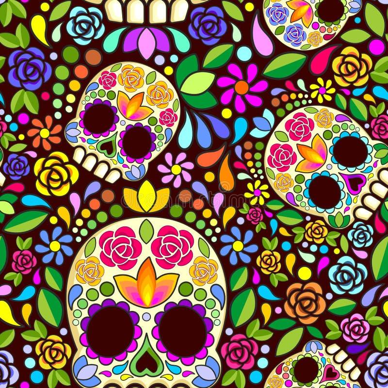Ζάχαρης κρανίων Floral Naif τέχνης μεξικάνικο σχέδιο σχεδίων Calaveras διανυσματικό άνευ ραφής διανυσματική απεικόνιση
