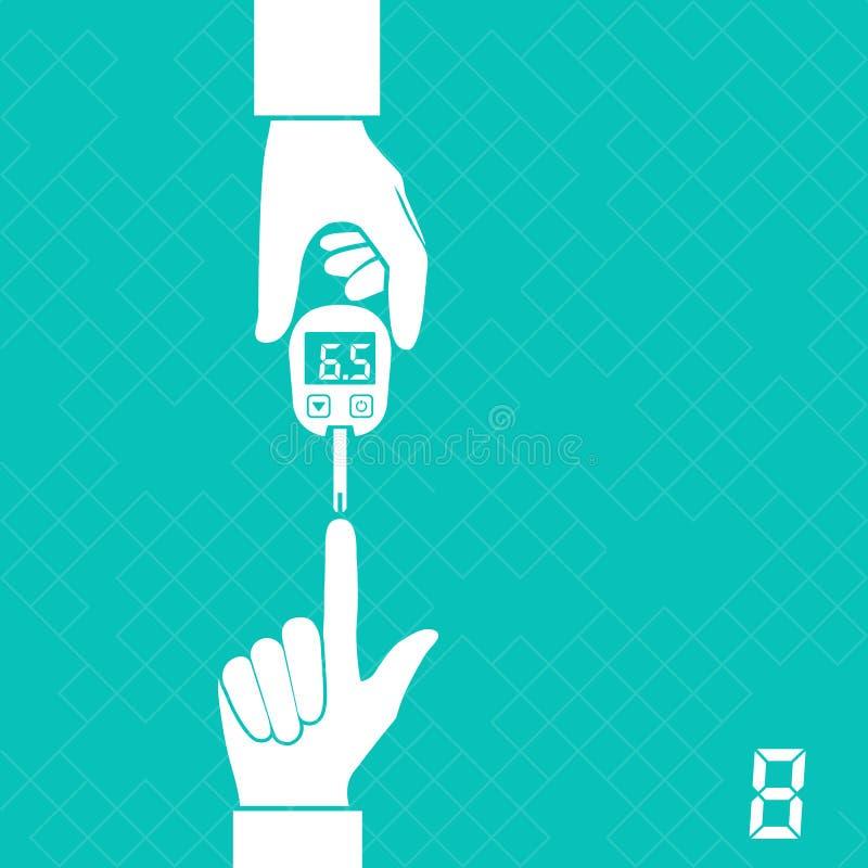 Ζάχαρη αίματος μέτρων Glucometer διανυσματική απεικόνιση