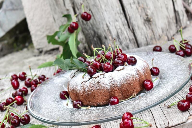 Ζάχαρη σοκολάτας και κερασιών kouglof ψεκασμένη στοκ φωτογραφία με δικαίωμα ελεύθερης χρήσης