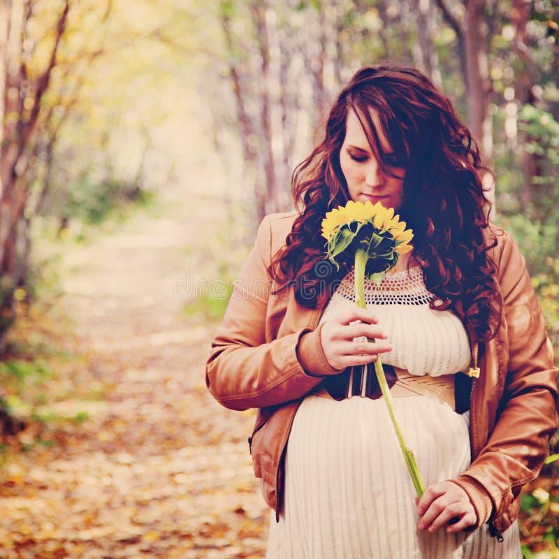 Ζάλη instagram της εγκύου γυναίκας στη δασική πορεία στοκ φωτογραφία με δικαίωμα ελεύθερης χρήσης