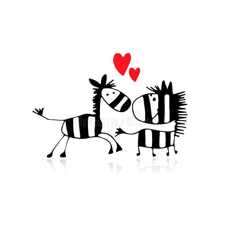 Ζέβες ζεύγος ερωτευμένο, σκίτσο για το σχέδιό σας απεικόνιση αποθεμάτων