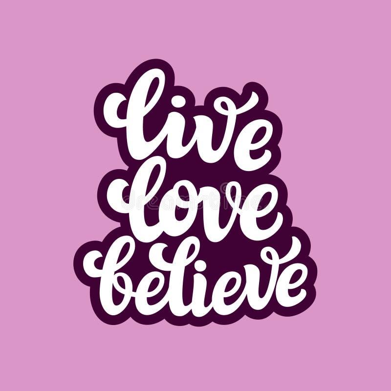 Ζήστε αγάπη θεωρεί Κείμενο τυπογραφίας διανυσματική απεικόνιση