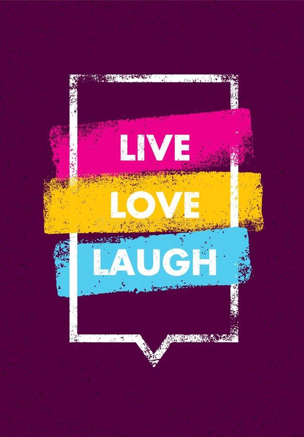 Ζήστε, αγαπήστε, γέλιο Ενθαρρυντικό δημιουργικό απόσπασμα κινήτρου Διανυσματική έννοια σχεδίου εμβλημάτων τυπογραφίας ελεύθερη απεικόνιση δικαιώματος