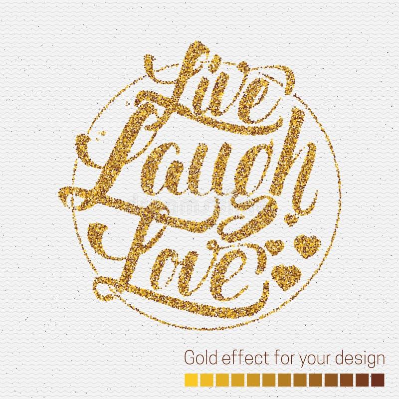 Ζήστε απόσπασμα εγγραφής χεριών αγάπης γέλιου διανυσματική απεικόνιση