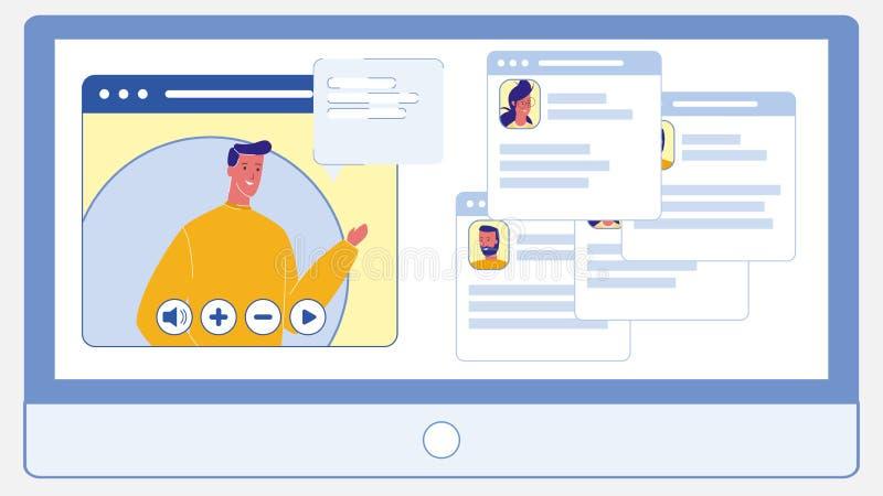 Ζήστε διάσκεψη, επίπεδη διανυσματική απεικόνιση συνομιλίας απεικόνιση αποθεμάτων