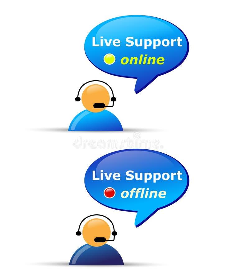 Ζήστε εικονίδια ιστοχώρου υποστήριξης ελεύθερη απεικόνιση δικαιώματος