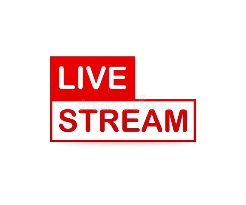 ζήστε εικονίδιο ρευμάτων Κόκκινο διανυσματικό στοιχείο σχεδίου με το κουμπί παιχνιδιού για τις ειδήσεις και τη TV ή on-line τη ρα διανυσματική απεικόνιση