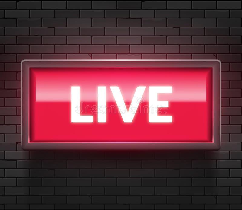 Ζήστε ελαφρύ σημάδι ραδιοφωνικής μετάδοσης Ζωντανό κόκκινο κιβώτιο στούντιο TV το ραδιο στον αέρα παρουσιάζει εικονίδιο ελεύθερη απεικόνιση δικαιώματος