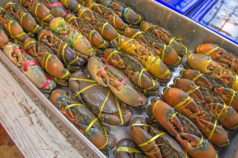 Ζήστε καβούρια έτοιμα να μαγειρευτούν σε μια αγορά στοκ εικόνες