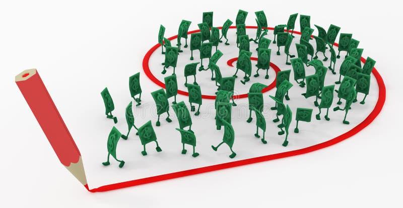 Ζήστε μετρητά, η κόκκινη γραμμή σύρει τη σπείρα ελεύθερη απεικόνιση δικαιώματος