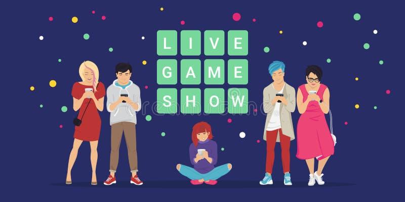 Ζήστε παιχνίδι παρουσιάζει στην κινητή app έννοια επίπεδη διανυσματική απεικόνιση του σε απευθείας σύνδεση διαγωνισμοου γνώσεων ελεύθερη απεικόνιση δικαιώματος