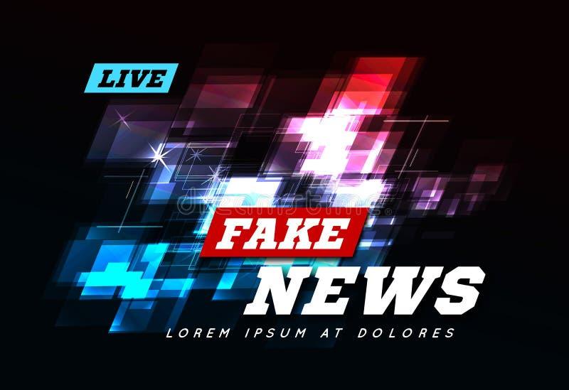 Ζήστε πλαστές ειδήσεις μπορεί να χρησιμοποιηθεί ως σχέδιο για τα μέσα τηλεοπτικών ειδήσεων ή Διαδικτύου διάνυσμα απεικόνιση αποθεμάτων