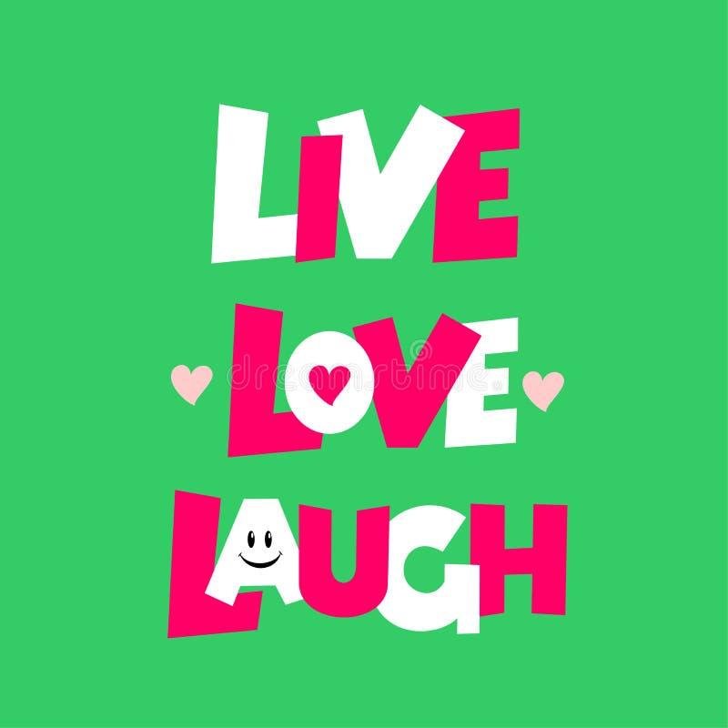 Ζήστε πρότυπο ευχετήριων καρτών αγάπης γέλιου επίσης corel σύρετε το διάνυσμα απεικόνισης Απομονωμένος στην πράσινη ανασκόπηση διανυσματική απεικόνιση