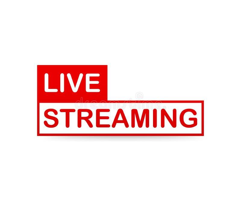Ζήστε ρέοντας ετικέτα Κόκκινο διανυσματικό στοιχείο σχεδίου με το κουμπί παιχνιδιού για τις ειδήσεις και τη TV ή on-line τη ραδιο απεικόνιση αποθεμάτων