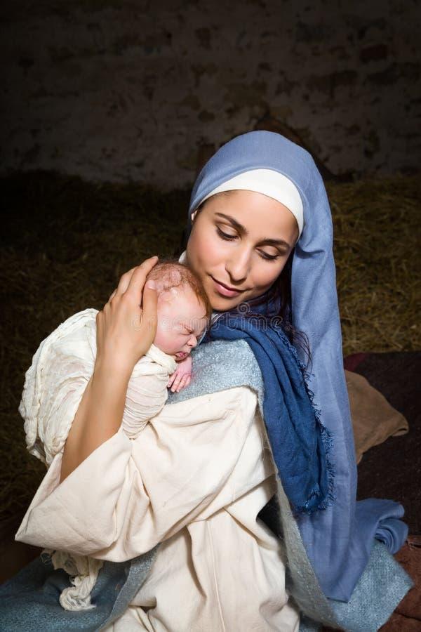 Ζήστε σκηνή nativity Χριστουγέννων στοκ εικόνα με δικαίωμα ελεύθερης χρήσης