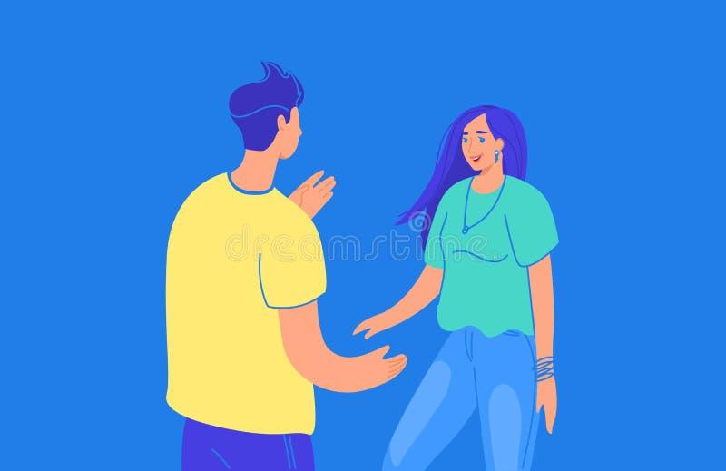 Ζήστε συνομιλία μεταξύ της διανυσματικής απεικόνισης κλίσης δύο φίλων των νέων που στέκονται μαζί και που μιλούν για κάτι ελεύθερη απεικόνιση δικαιώματος