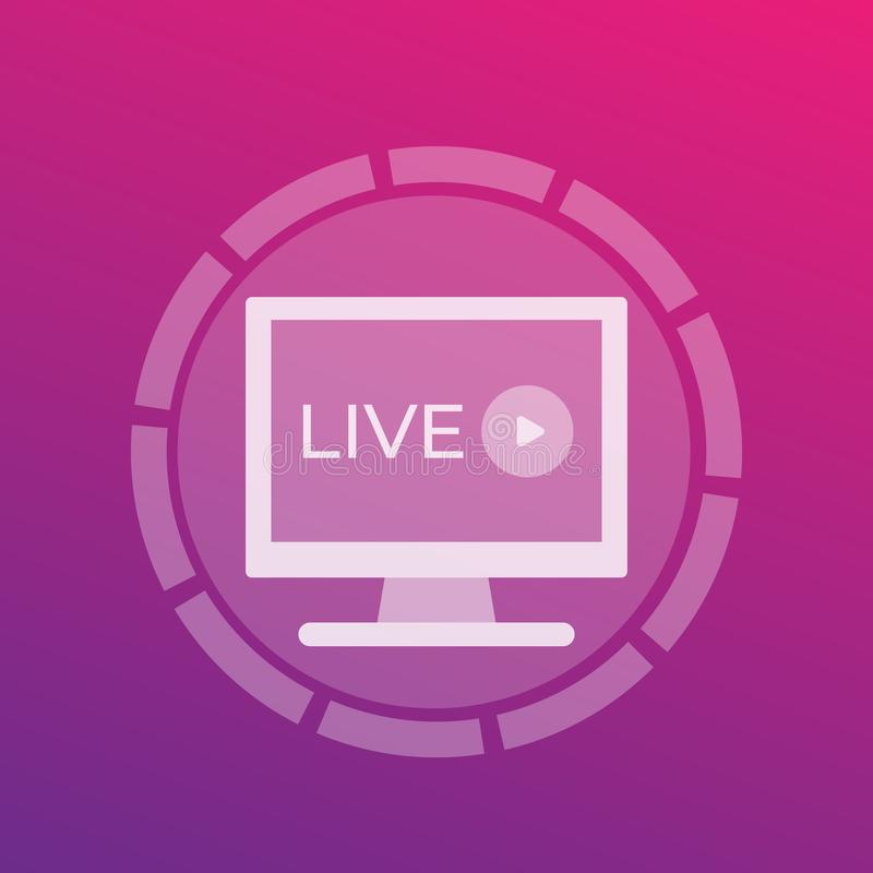 Ζήστε τηλεοπτικό εικονίδιο παιχνιδιού ρευμάτων διανυσματική απεικόνιση