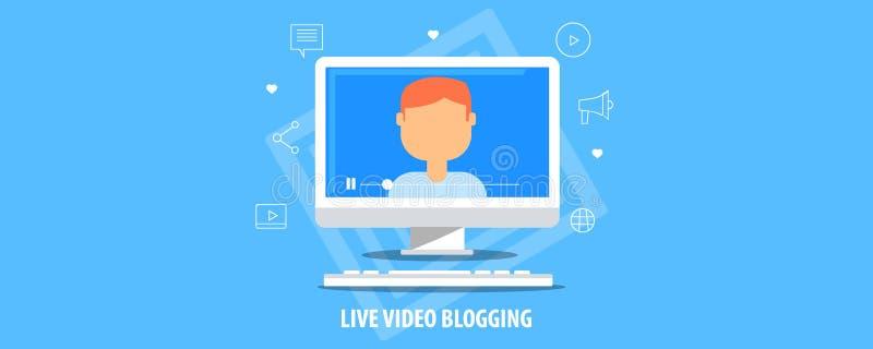 Ζήστε τηλεοπτικό blogging - που - webinar - ζωντανή ροή - τηλεοπτικό σεμινάριο - σε απευθείας σύνδεση έννοια διασκέψεων Επίπεδο δ ελεύθερη απεικόνιση δικαιώματος