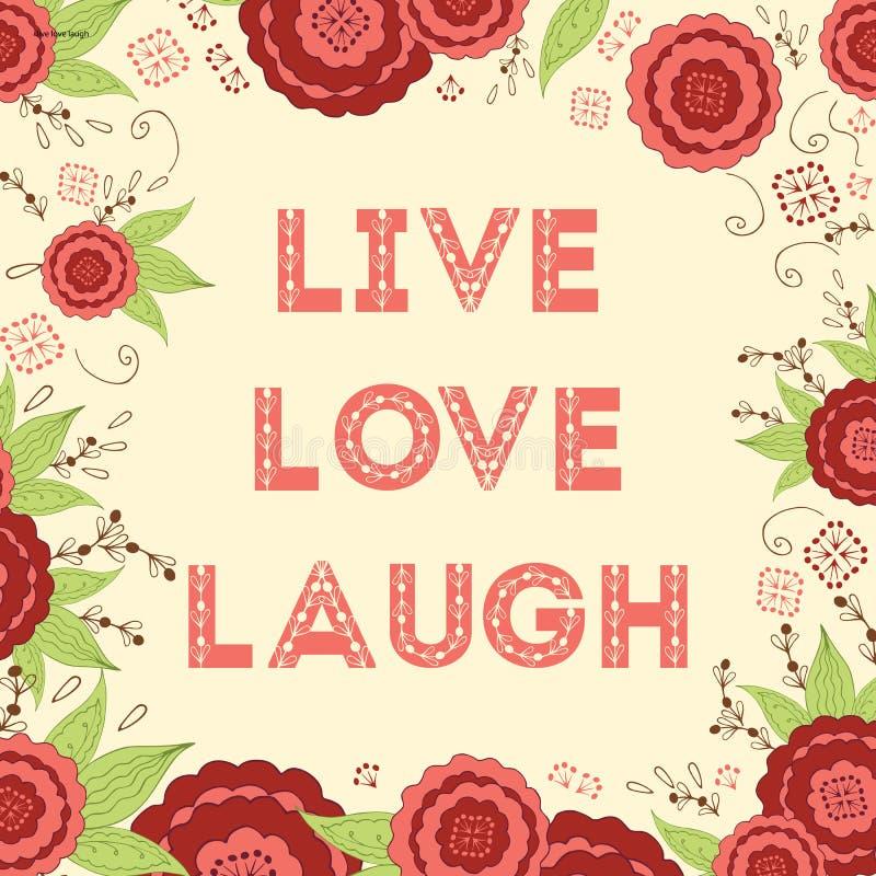 Ζήστε χέρι αγάπης γέλιου έγραψε τις λέξεις στο όμορφο φωτεινό κόκκινο υπόβαθρο λουλουδιών λιβαδιών ελεύθερη απεικόνιση δικαιώματος