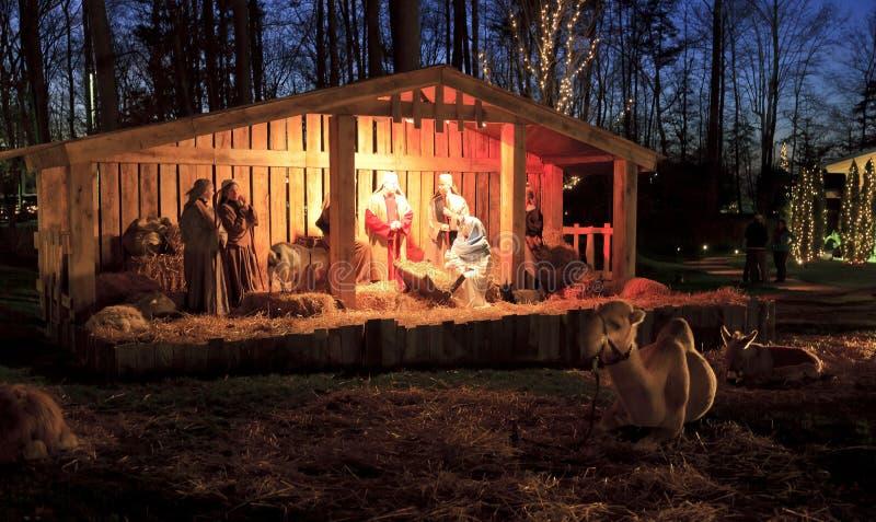 Ζήστε Nativity, Χριστούγεννα στη βιβλιοθήκη του Billy Graham στοκ εικόνες