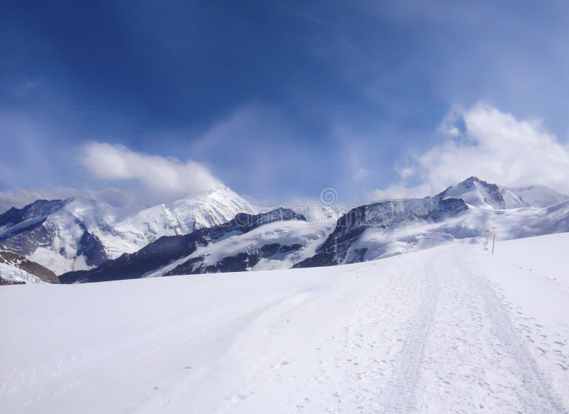 Ζαλίζοντας όμορφη πανοραμική άποψη του χιονοσκεπούς τοπίου ορών βουνών Bernese στην περιοχή Jungfrau, Bernese Oberland, Ελβετία στοκ εικόνα με δικαίωμα ελεύθερης χρήσης