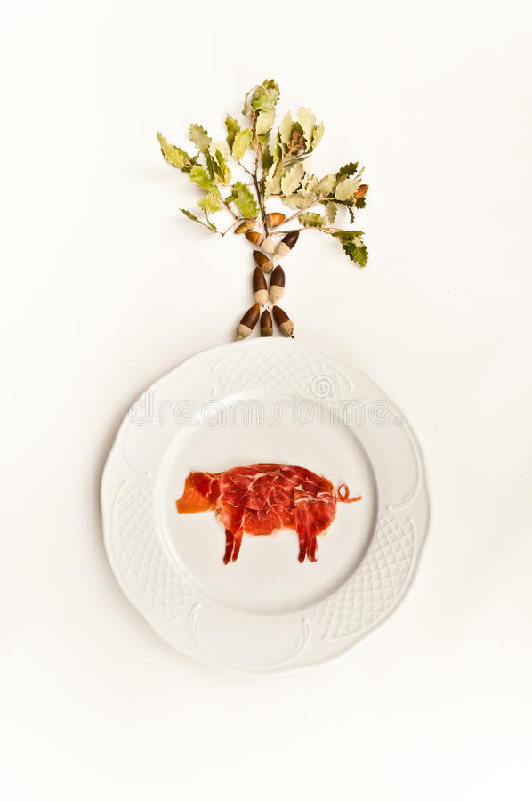 Ζαμπόν σε ένα πιάτο και ένα δέντρο στοκ φωτογραφία