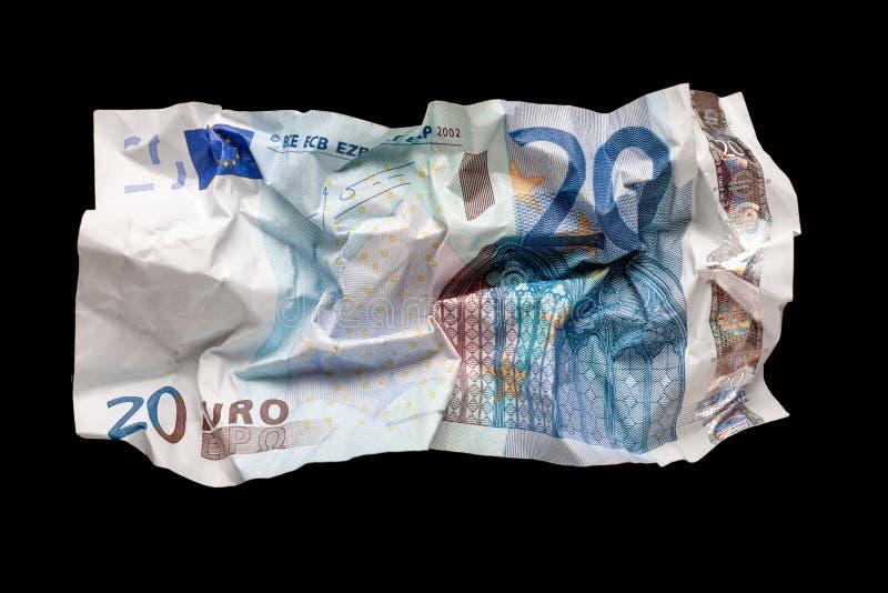 Ζαρωμένα ευρο- χρήματα στοκ εικόνα με δικαίωμα ελεύθερης χρήσης