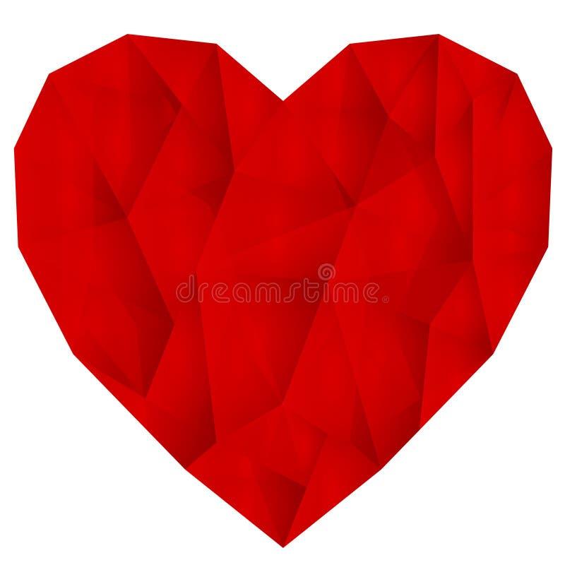 Ζαρωμένη κόκκινη διανυσματική καρδιά στοκ εικόνες