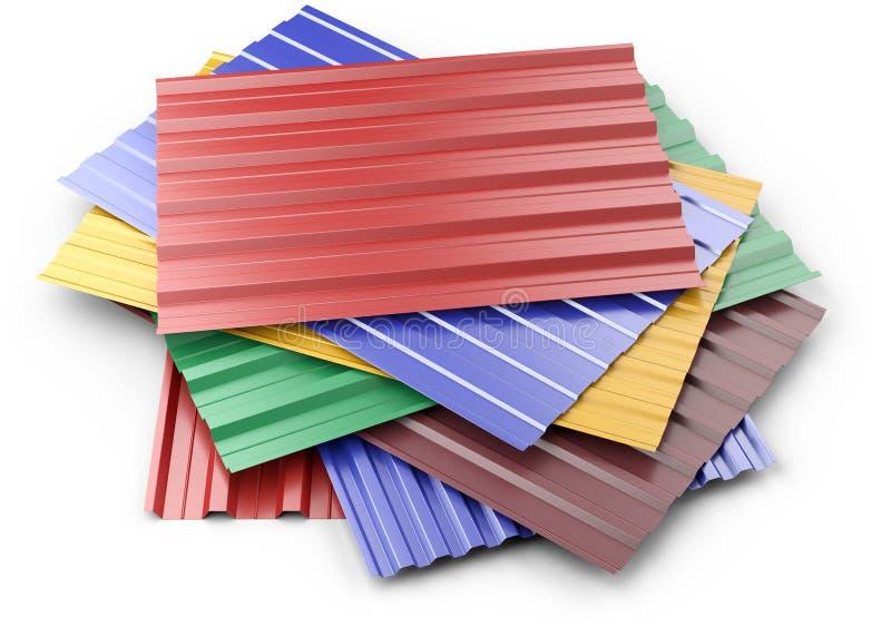 Ζαρωμένος μέταλλο σωρός φύλλων στεγών, με τα διάφορα χρώματα απεικόνιση αποθεμάτων