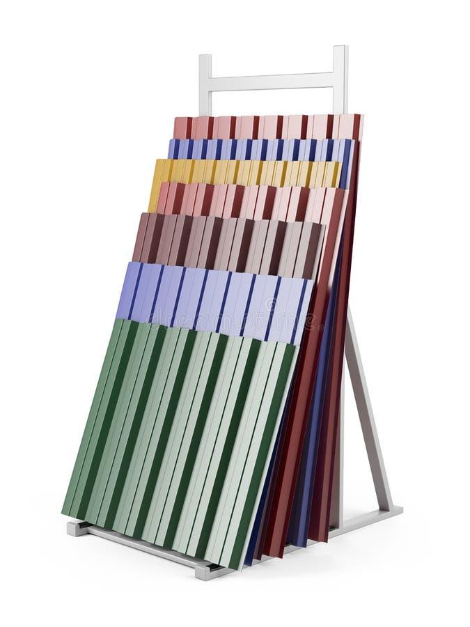 Ζαρωμένος μέταλλο σωρός φύλλων στεγών στην υποστήριξη με το διάφορο χρώμα απεικόνιση αποθεμάτων