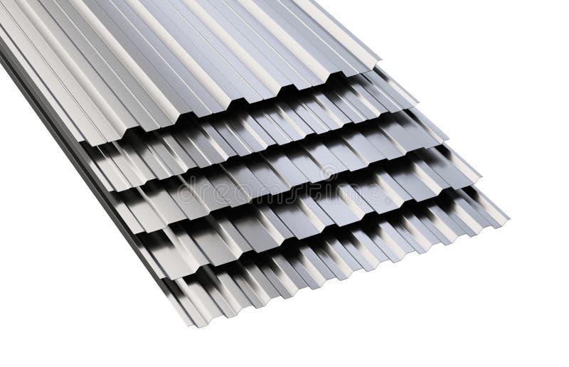Ζαρωμένος μέταλλο σωρός φύλλων στεγών διανυσματική απεικόνιση