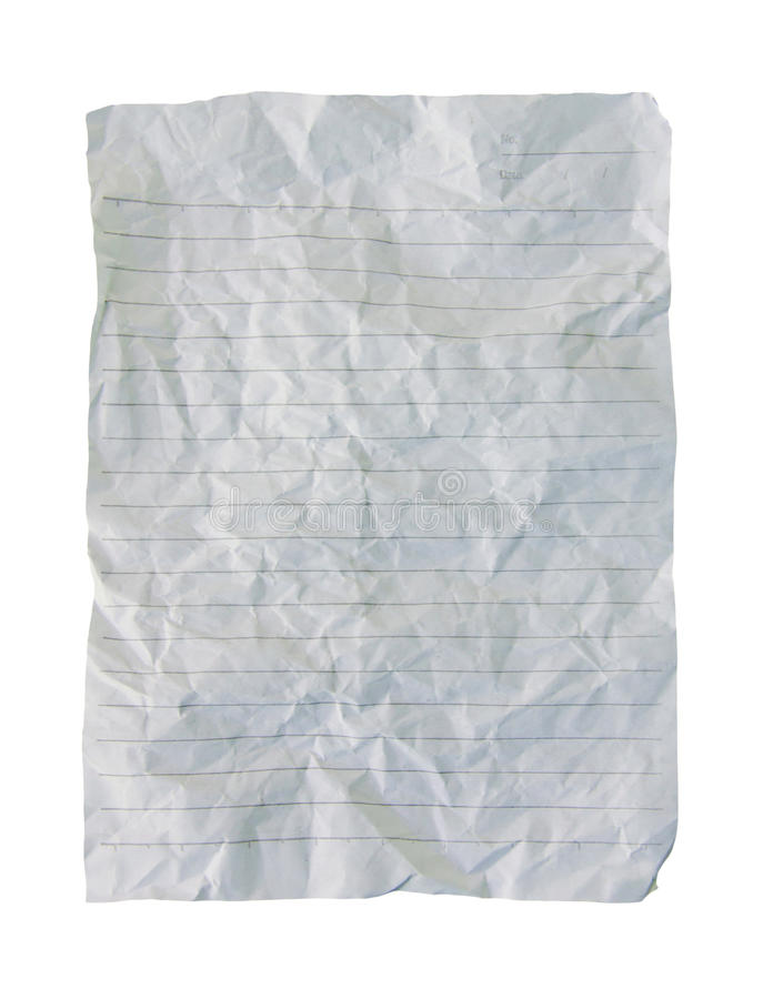 ζαρωμένο φύλλο του εγγράφου που απομονώνεται στο άσπρο υπόβαθρο στοκ φωτογραφίες με δικαίωμα ελεύθερης χρήσης