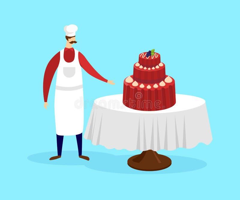 Ζαχαροπλάστης που στέκεται κοντά στον πίνακα με το εορταστικό κέικ απεικόνιση αποθεμάτων