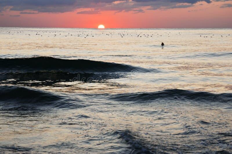 Ζαλίζοντας δονούμενο χρυσό ηλιοβασίλεμα στην παραλία άμμου Πορτοκαλί χρώμα ανατολής στοκ εικόνα με δικαίωμα ελεύθερης χρήσης