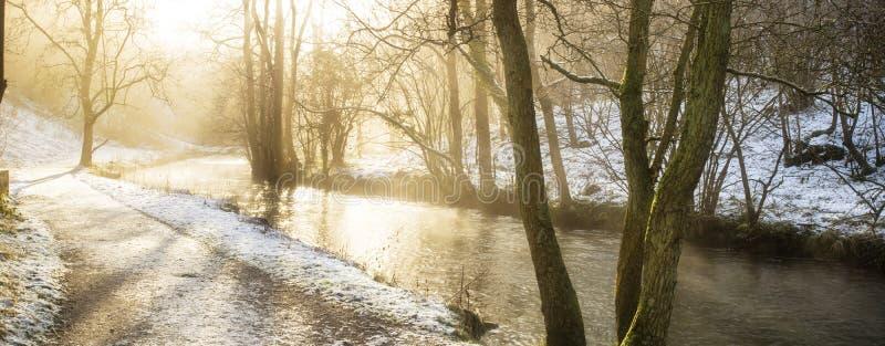 Ζαλίζοντας πνεύμα επαρχίας χειμερινών πανοραμικό τοπίων χιονισμένο στοκ εικόνα με δικαίωμα ελεύθερης χρήσης