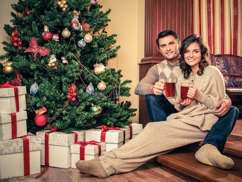 Ζεστό ποτό ζεύγους κοντά στο χριστουγεννιάτικο δέντρο στοκ φωτογραφία
