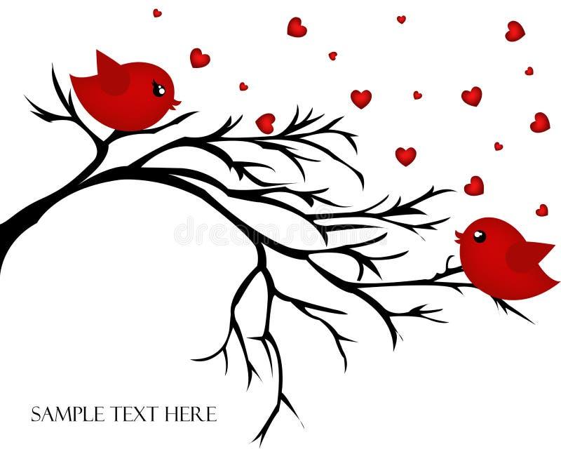 Ζευγάρι αγάπης των πουλιών σε έναν κλάδο απεικόνιση αποθεμάτων