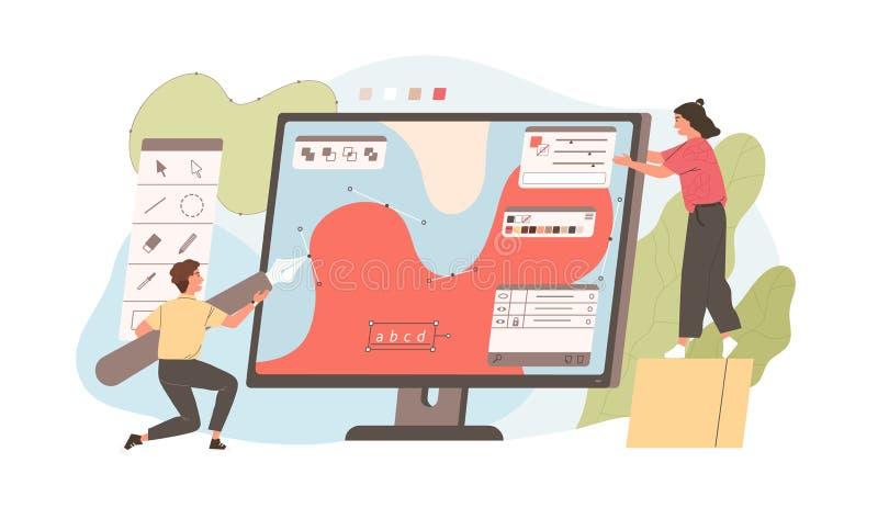 Ζευγάρι του αστείου σχεδίου νεαρών άνδρων και γυναικών με τη μάνδρα στο γραφικό συντάκτη Χαριτωμένη ψηφιακή εργασία σχεδιαστών ή  διανυσματική απεικόνιση
