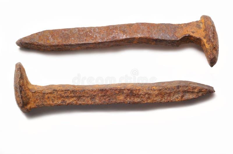Ζευγάρι του παλαιού σκουριασμένου spi σιδηροδρόμου στοκ εικόνες