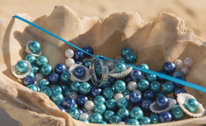 Ζευγάρι των γαμήλιων ζωνών που κρεμιούνται στην κορδέλλα στο θαλασσινό κοχύλι στοκ φωτογραφία